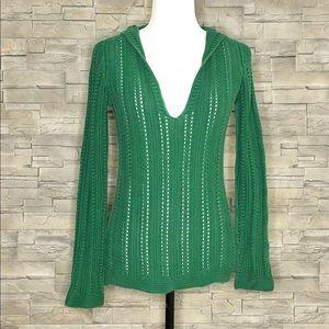 Zara green hooded wide-knit sweater